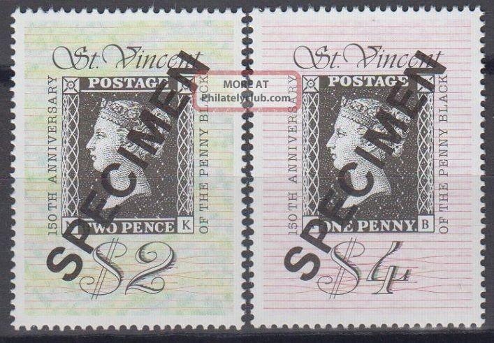 Specimen,  St.  Vincent Sc1319 - 20 Penny Black 150th Anniv. Caribbean photo