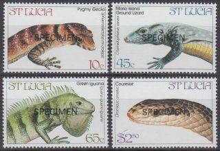 Specimen,  St.  Lucia Sc661 - 4 Endangered Reptiles,  Gecko,  Snake photo