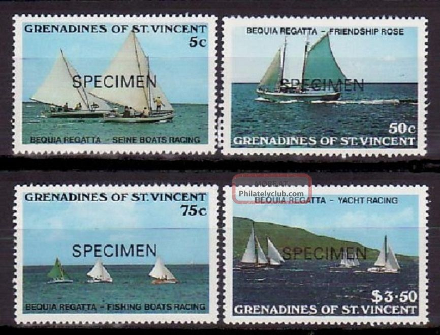 Specimen,  St.  Vincent Grenadines Sc586 - 9 Fishing,  Ship Caribbean photo