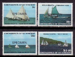 Specimen,  St.  Vincent Grenadines Sc586 - 9 Fishing,  Ship photo
