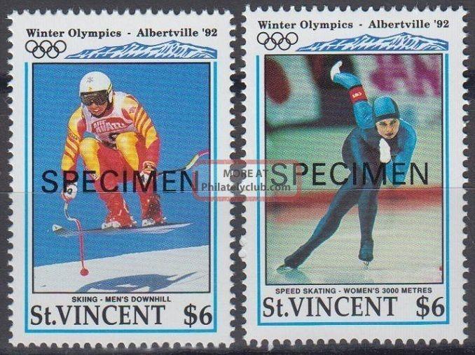 Specimen,  St.  Vincent Sc1598 - 9 1992 Winter Olympics,  Albertville,  Single Caribbean photo