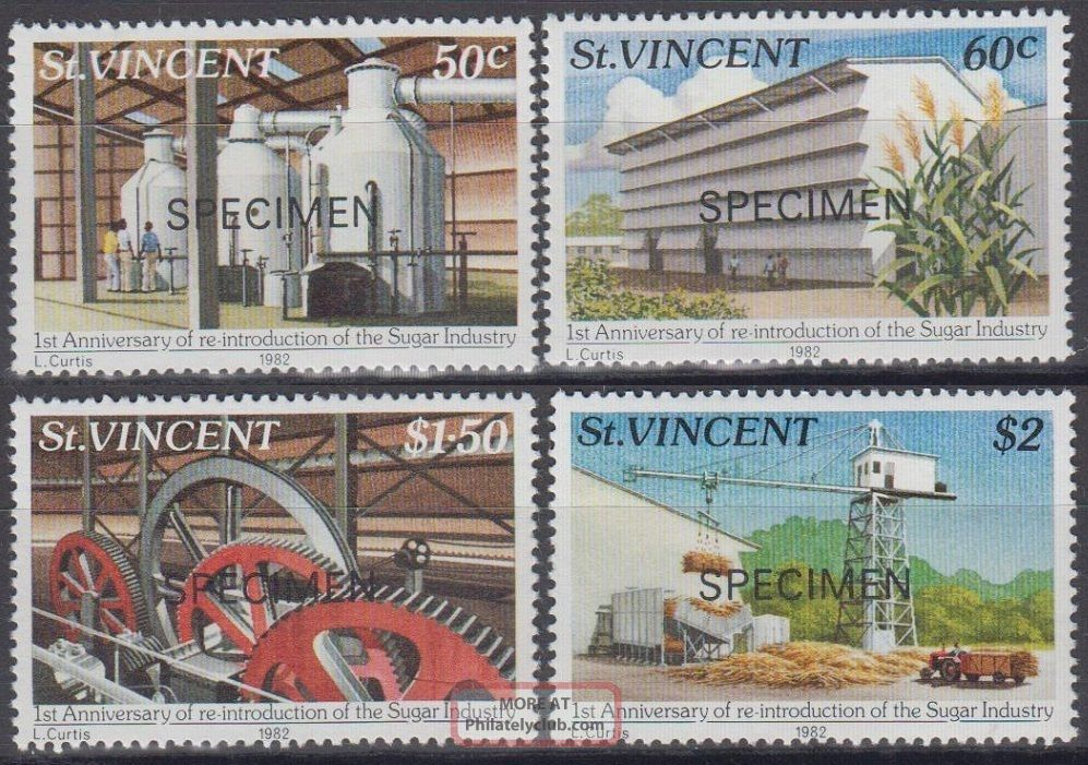 Specimen,  St.  Vincent Sc639 - 42 Re - Introduction Of Sugar Industry Caribbean photo