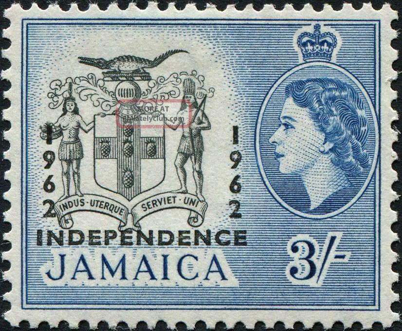 Jamaica 1964 3s Black And Blue Sg213 £2.  75 Vf Mh Caribbean photo
