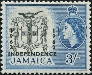 Jamaica 1964 3s Black And Blue Sg213 £2.  75 Vf Mh photo