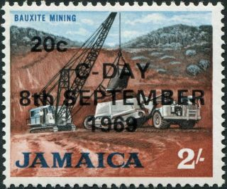 Jamaica 1969 20c On 2s Red - Brown,  Black And Light Blue Sg288 £1.  55 Mh photo