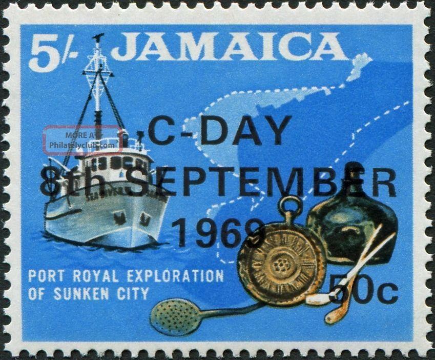 Jamaica 1969 50c On 5s Black,  Ochre And Blue Sg290 £1.  25 Mh Caribbean photo