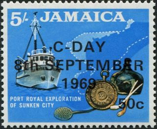 Jamaica 1969 50c On 5s Black,  Ochre And Blue Sg290 £1.  25 Mh photo