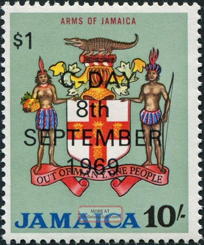 Jamaica 1969 $1 On 10s Multicoloured Sg291 £1.  25 Mh Caribbean photo