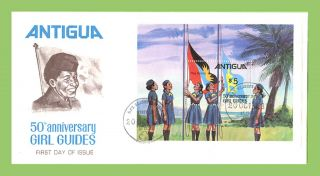 Antigua 1981 Girl Guides Miniature Sheet On First Day Cover photo