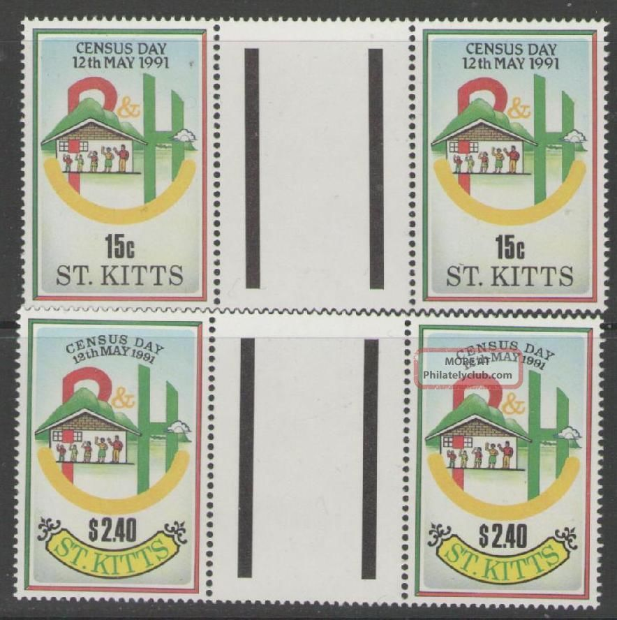 St.  Kitts Sg334/5 1991 National Census Gutter Pairs Caribbean photo