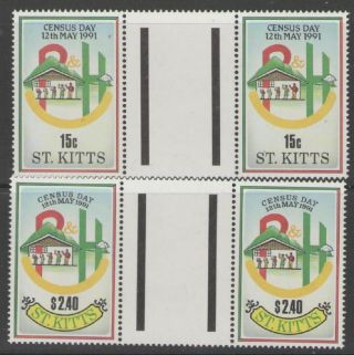 St.  Kitts Sg334/5 1991 National Census Gutter Pairs photo