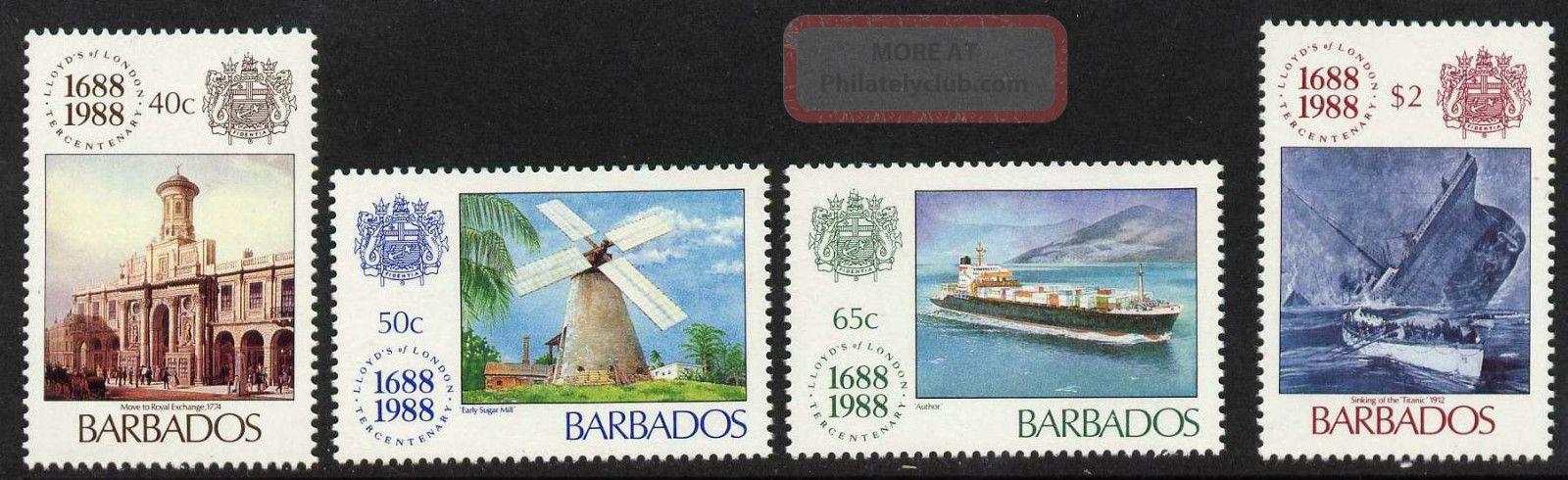 Barbados 731 - 4 Ships,  Lloyd ' S,  Architecture Caribbean photo