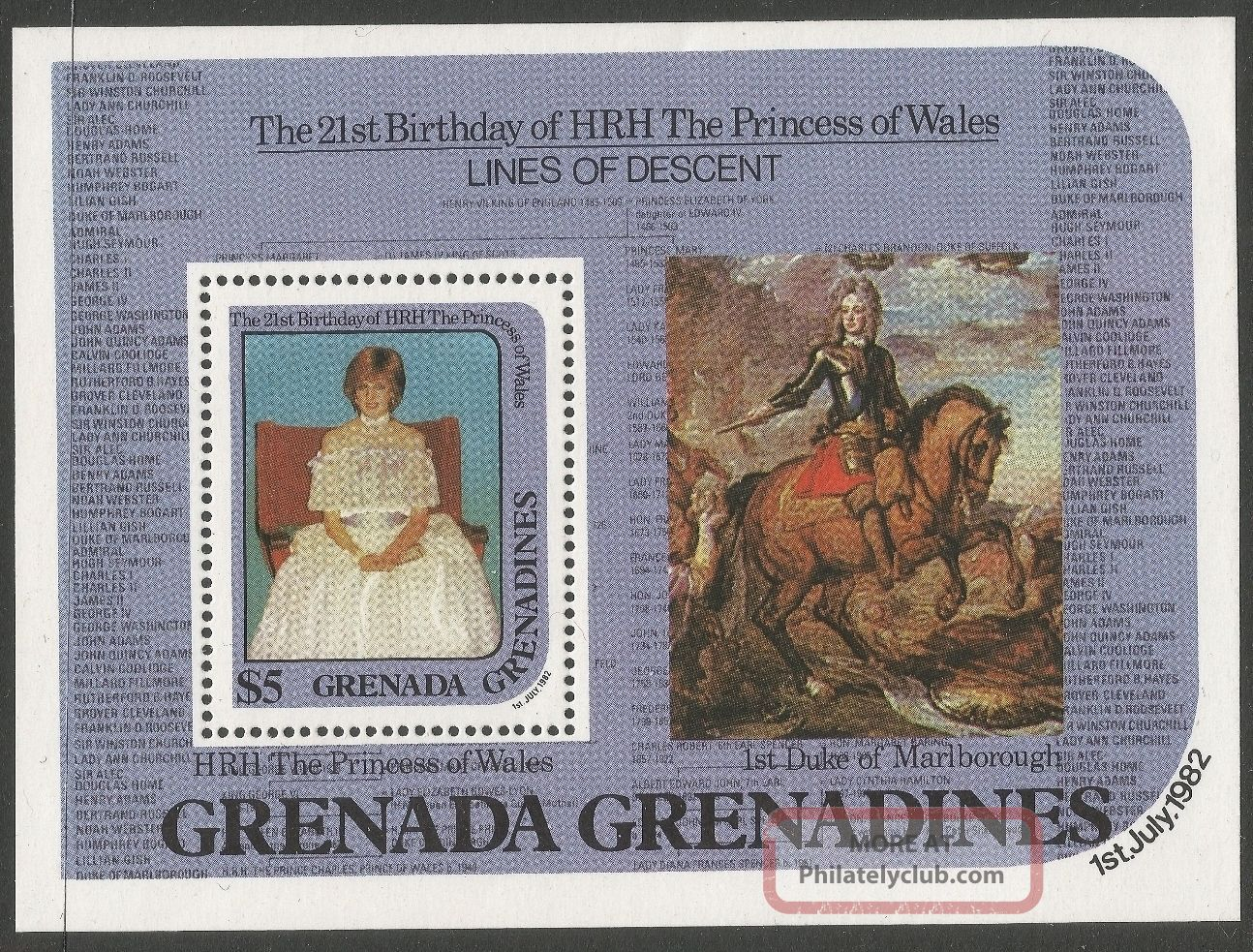 Grenadines Of Grenada.  1982 21st Birthday Of Princess Of Wales $5 M/s Caribbean photo