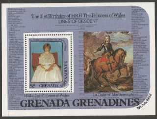 Grenadines Of Grenada.  1982 21st Birthday Of Princess Of Wales $5 M/s photo