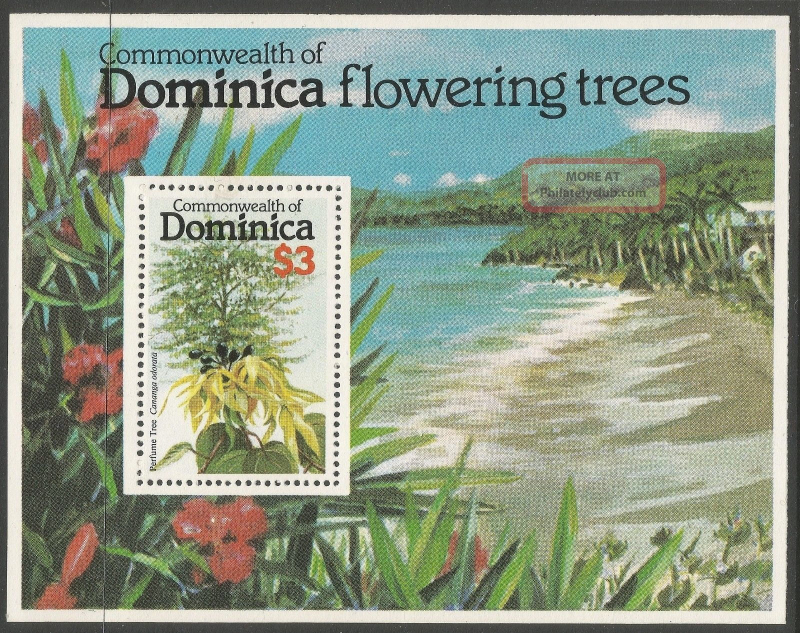 Dominica.  1979 Flowering Trees.  $3 Miniature Sheet Caribbean photo