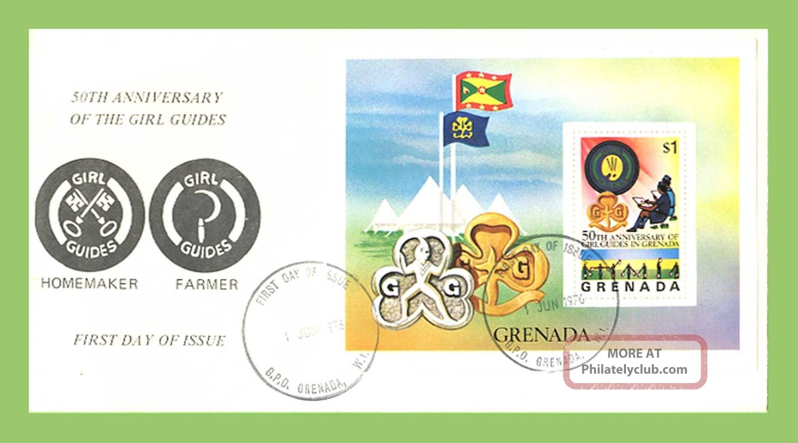 Grenada 1976 Girl Guides Miniature Sheet On First Day Cover Caribbean photo