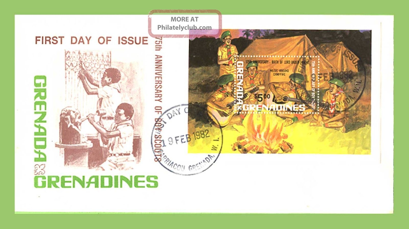 Grenada/greandines 1982 75th Anniv Boy Scout Movement M/s On First Day Cover Caribbean photo