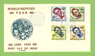 Haiti 1959 World Refugee Year Overprints On First Day Cover photo
