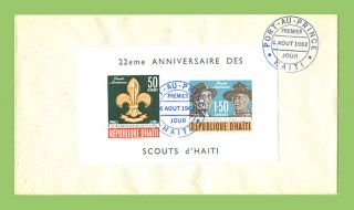 Haiti 1962 22nd Anniversary Scouts Miniature Sheet On First Day Cover photo