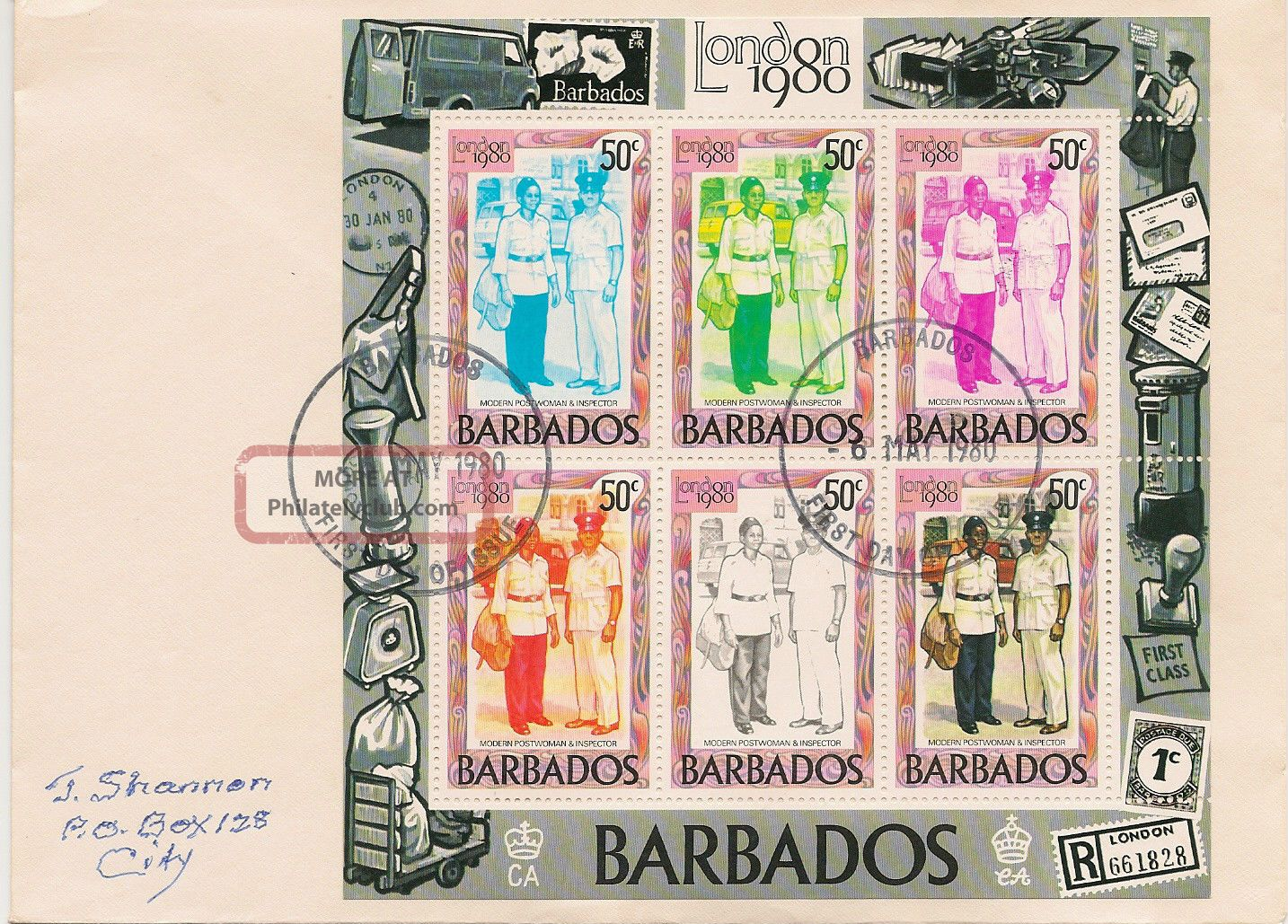 Barbados,  Fdc Souvenir Sheet Of 6,  Modern Postwoman & Inspector,  6 May,  1980 Caribbean photo