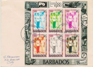 Barbados,  Fdc Souvenir Sheet Of 6,  Modern Postwoman & Inspector,  6 May,  1980 photo