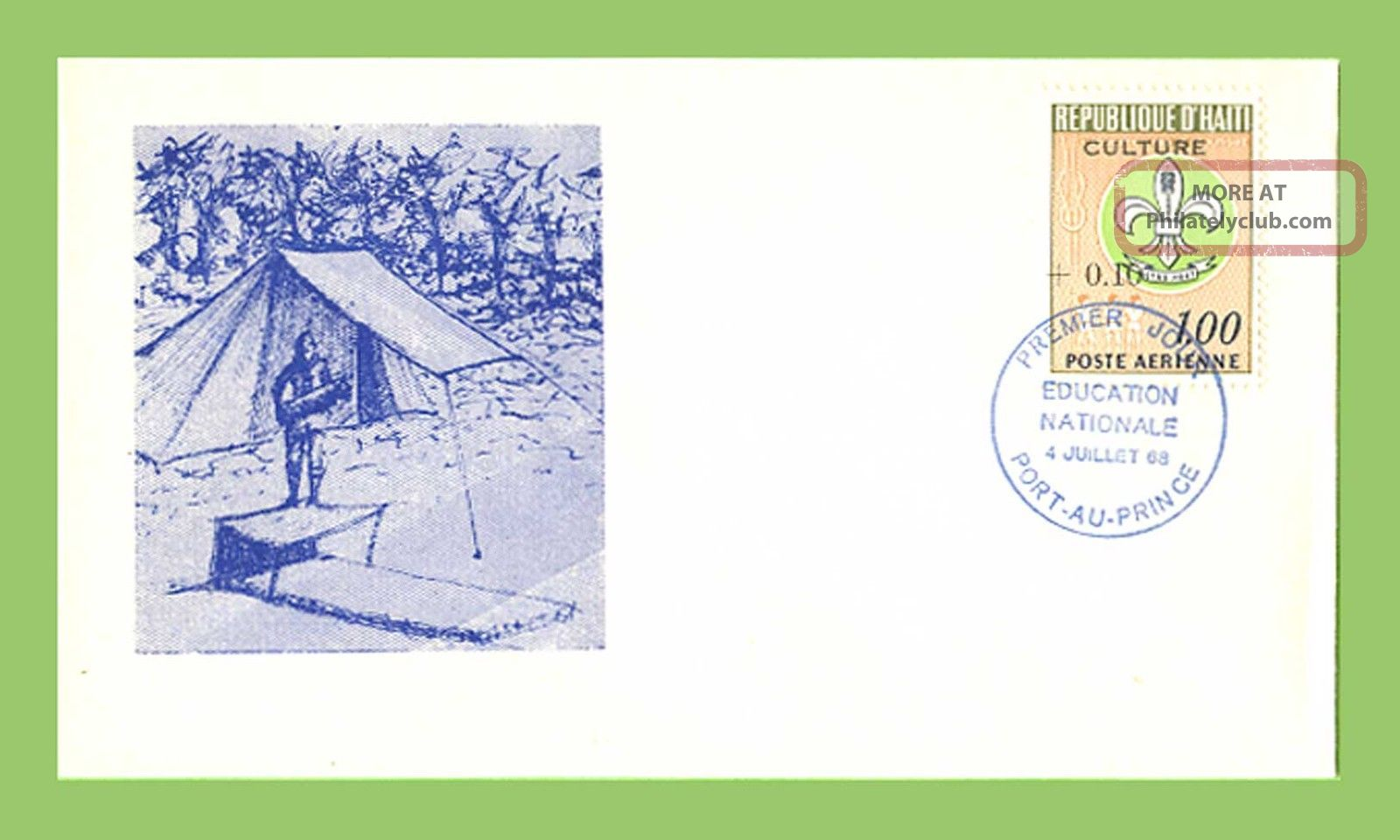 Haiti 1968 Scouts/education ' Culture ' Overprint (tent Design) First Day Cover Caribbean photo