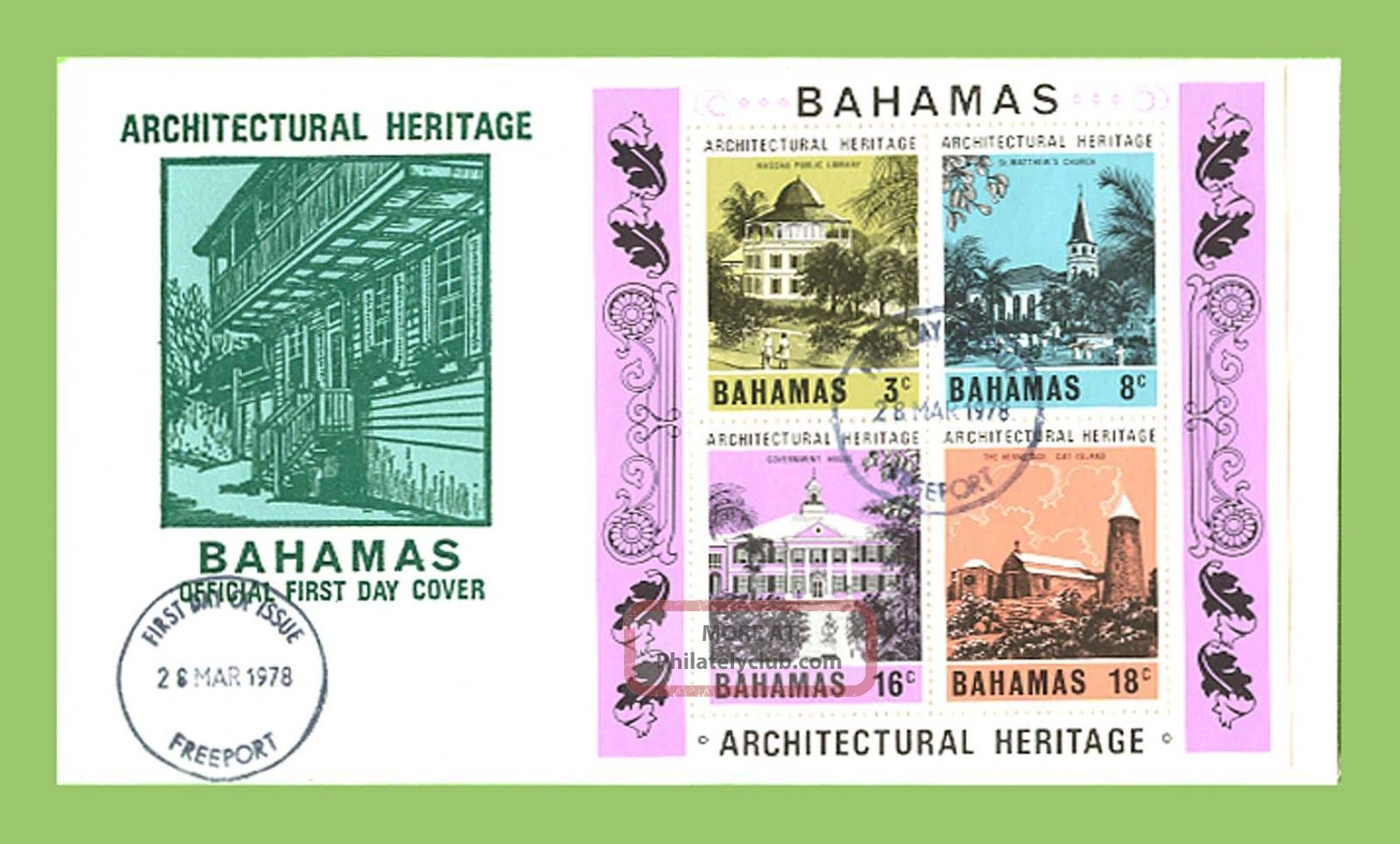 Bahamas 1978 Architectural Heritage Miniature Sheetfirst Day Cover,  Freeport Caribbean photo