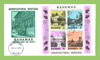 Bahamas 1978 Architectural Heritage Miniature Sheetfirst Day Cover,  Freeport photo