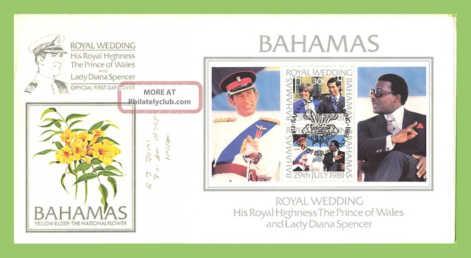 Bahamas 1981 Royal Wedding Miniature Sheet First Day Cover Caribbean photo