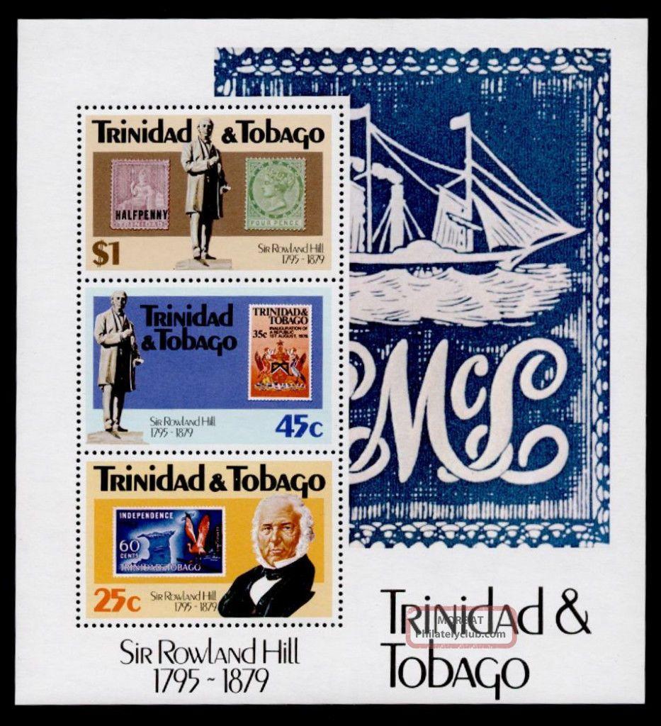 Trinidad & Tobago 320a Stamp On Stamp,  Crest,  Map,  Bird Caribbean photo
