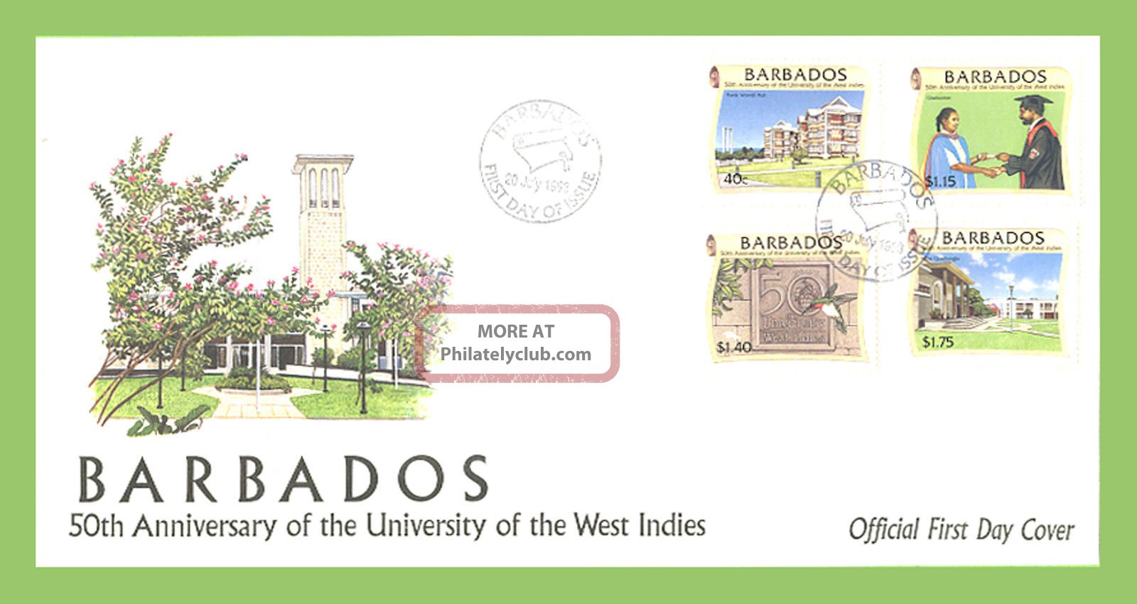 Barbados 1998 University Of West Indies First Day Cover Caribbean photo
