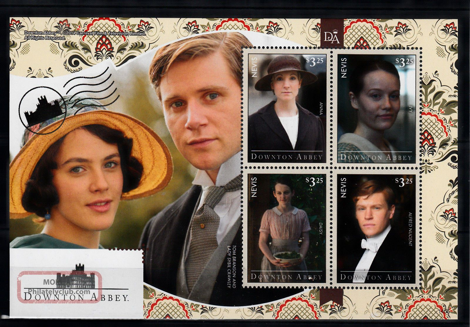 Nevis 2014 Downton Abbey 4v M/s Lady Sybil Crawley Anna Ivy Daisy Nugent Caribbean photo