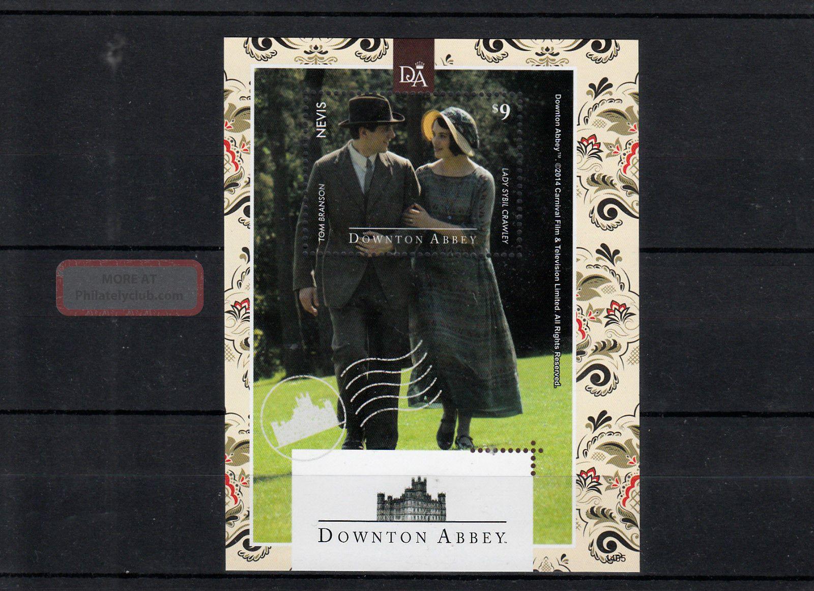 Nevis 2014 Downton Abbey 1v S/s Lady Sybil Crawley Tom Branson Caribbean photo