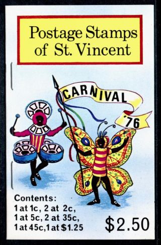 St Vincent 457 - 62 Booklet Sb4 Carnival Costumes photo