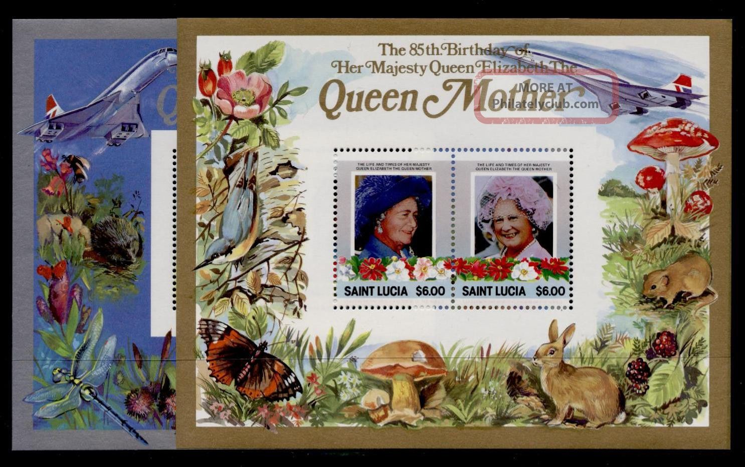 St Lucia 787 - 8 Queen Mother 85th Birthday,  Concorde,  Animals,  Insects,  Birds Caribbean photo