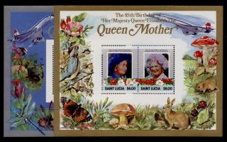 St Lucia 787 - 8 Queen Mother 85th Birthday,  Concorde,  Animals,  Insects,  Birds photo