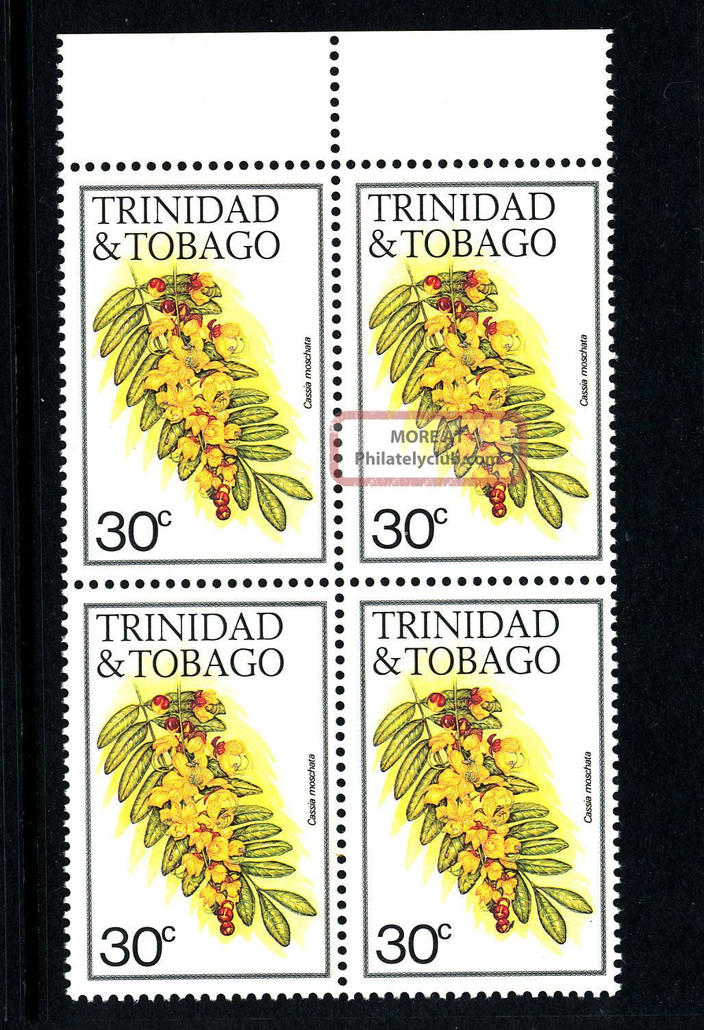 A480 Trinidad & Tobago 1983 Sg641a (block Of 4) 30c Cassia Caribbean photo