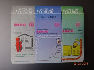 Ecuador Souvenir Sheet Ince 1990 Hojita Stamp V Censo Poblacion 300 Sucres photo