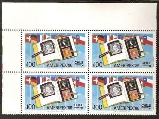 Chile 1986 Stamp 1186 Block Of Four Ameripex Expo Philatelic Sheet Corner photo