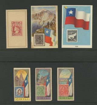 Chile C1930 Stamp Theme Cigarette Cards. . .  6 Items photo