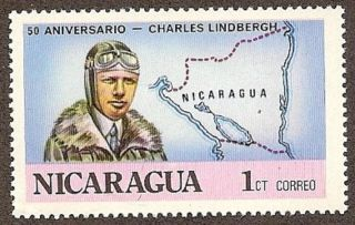 Nicaragua Scott 1050,  Lindbergh & Map Of Nicaragua, ,  Fg,  Nh,  1977 photo
