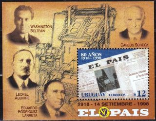 Uruguay: Mi Bl.  86 Newspaper ' El Pais ' : The Founders (1998) S/sheet photo