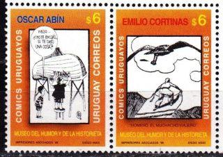 Uruguay: Mi 2332 - 33 Museum Of Humor & Short Stories.  Drawings (1998) Strip photo