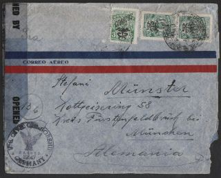 Uruguay 1946 Censored Airmail To Germany Us Zone With 3d And Pair 20c photo