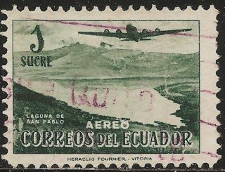 1954 Ecuador Air Mail Scott C267 Douglas Dc - 4 Over San Pablo (1s Dk Green) photo