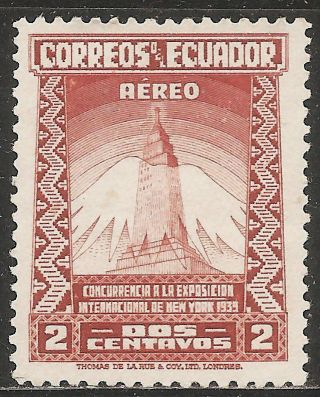1939 Ecuador Airmail: Scott C80 - York World ' S Fair (2c - Orange Brown) Mng photo