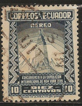 1939 Ecuador Airmail: Scott C82 - York World ' S Fair (10c Grayish Blue) photo