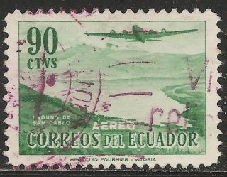 1954 Ecuador Air Mail Scott C266 - Douglas Dc - 4 Over San Pablo (90c Green) photo