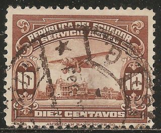 1929 Ecuador Air Mail: Scott C10 - Beach Promenade Of Guayaqil (10c Brown) photo