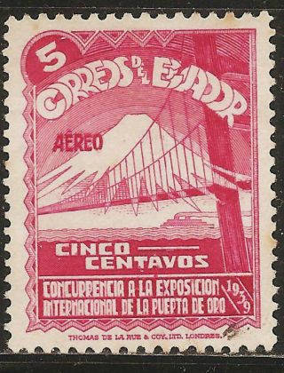 1939 Ecuador Airmail Scott C74 San Francisco International Exhibition (5c) photo